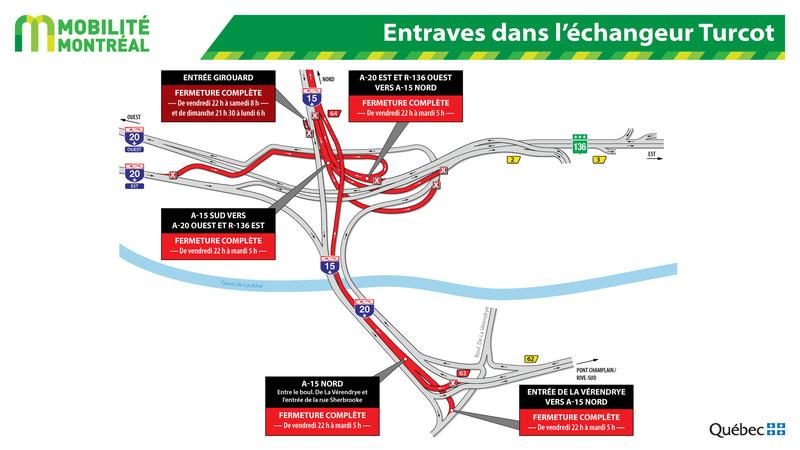 Entraves dans l'échangeur Turcot (Groupe CNW/Ministère des Transports, de la Mobilité durable et de l'Électrification des transports)