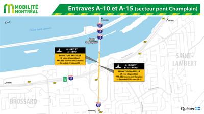 Entraves A-10 et A-15 (secteur pont Champlain) (Groupe CNW/Ministère des Transports, de la Mobilité durable et de l'Électrification des transports)