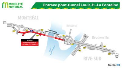 Entrave pont-tunnel Louis-H.-La Fontaine (Groupe CNW/Ministère des Transports, de la Mobilité durable et de l'Électrification des transports)