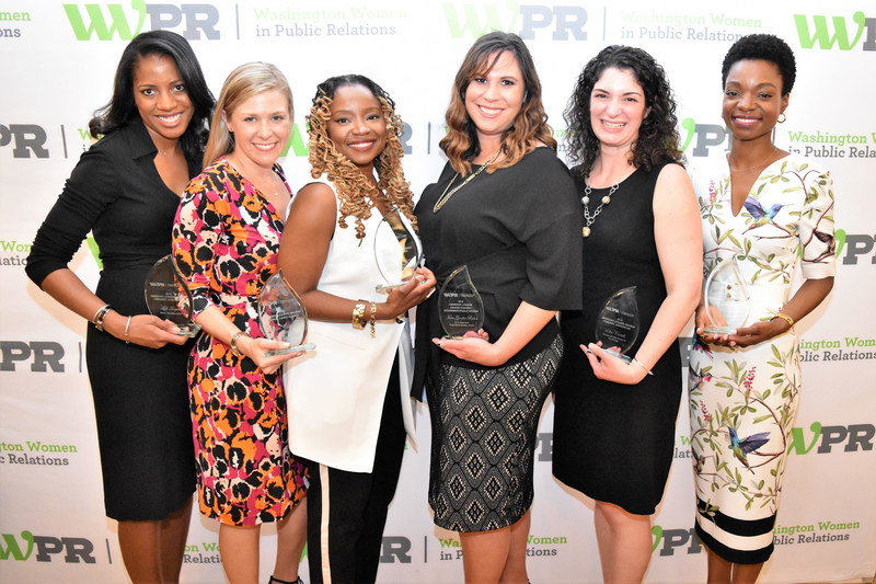 WWPR 2018 ELA Honorees (left to right): Tiph Turpin, Mars, Incorporated; Kristin Chapdelaine, GolinDC; Mercy Chikowore, Washington Area Women's Foundation; Tara Goodin Rabin, U.S. Food and Drug Administration; Elise Castelli, Society of Interventional Radiology; Shelby Giles, Vanguard Communications