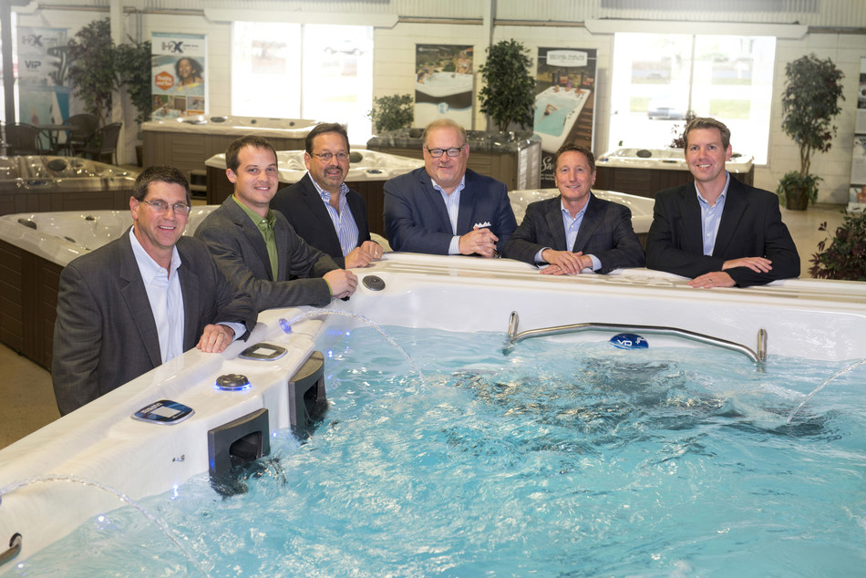 Master Spas executives from left to right: Mike Rees, VP of Manufacturing, Nathan Coelho, VP of Engineering, Sam Badiac, Vice President, Bob Lauter, CEO, Terry Valmassoi, President, and Kevin Richards, VP of Marketing & Sales.