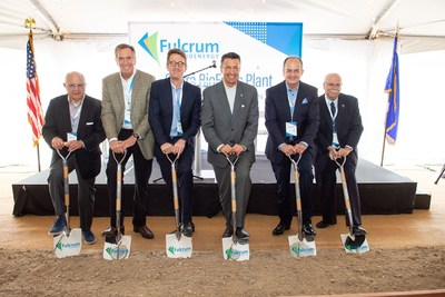 Fulcrum Board members Tom Unterman, Lee Bailey and Jim McDermott, Nevada Governor Brian Sandoval, Fulcrum President and CEO Jim Macias and Storey County Manager, Pat Whitten break ground to commence construction of the Sierra BioFuels Plant