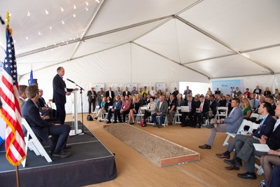 Fulcrum President and CEO, Jim Macias, addresses the more than 200 attendees of the Sierra BioFuels Plant groundbreaking ceremony
