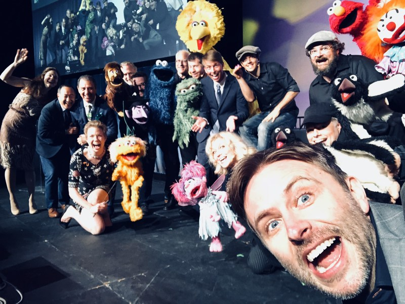 Host Chris Hardwick takes a selfie with the cast of Puppets for Puppetry, honoring Caroll Spinney, at The Jim Henson Company in Hollywood on May 5th, 2018.