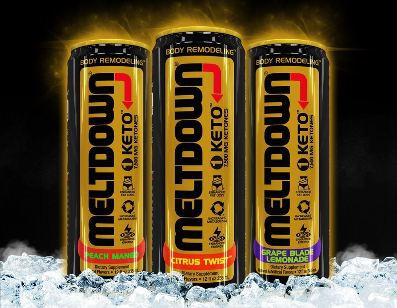 Meltdown® 1 KETO is& the first carbonated beverage formulated with 7,500 mg of ketones and caffeine, along with Jack Owoc's patented Aqacrine.
