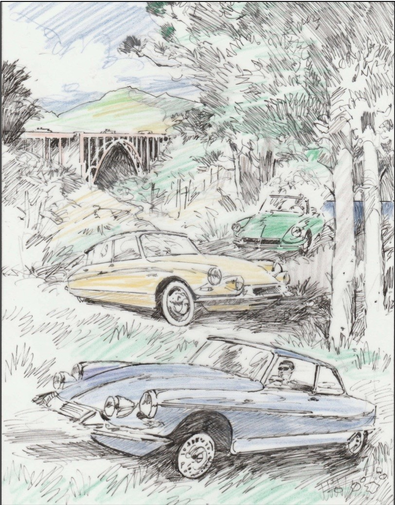 The 2018 Pebble Beach Tour d'Elegance poster celebrates Citroën's first appearance as a featured marque at the Pebble Beach Concours d'Elegance. Three Citroëns owned by Jeffrey and Frances Fisher are highlighted. Watch the art, painted by Barry Rowe, progress from sketch to finished poster on social media @pebblebeachconcours. For more information and downloadable images for media use, go to www.theconcours.com.
