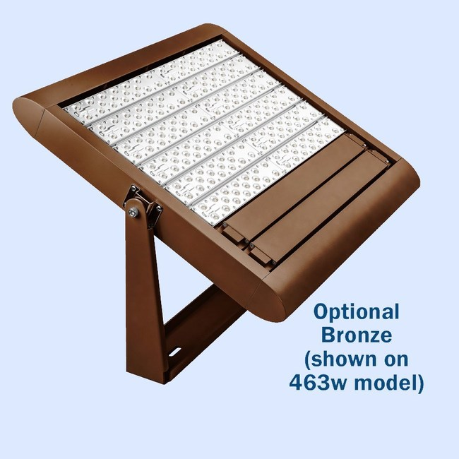Available in Black, Bronze, Gray and White finishes, pictured is the APTI LED Canopy Light in its bronze finish.
