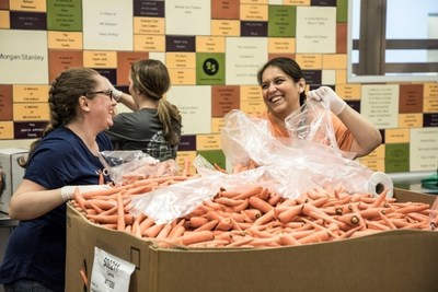 Volunteers sorted 7,000 pounds of carrots at the Redwood Empire Food Bank in Santa Rosa.