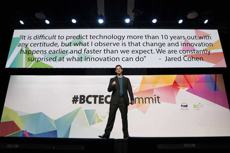 Jigsaw CEO, Jared Cohen, was one of 200+ speakers to hit the #BCTECH Summit stage (CNW Group/BC Innovation Council)