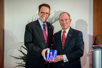 Michael R. Bloomberg, founder of Bloomberg LP and Bloomberg Philanthropies, and three-term mayor of New York City, presents Cities of Service Engaged Cities Award to G.T. Bynum, Mayor of Tulsa, Oklahoma