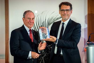 Michael R. Bloomberg, founder of Bloomberg LP and Bloomberg Philanthropies, and three-term mayor of New York City, presents Cities of Service Engaged Cities Award to Virginio Merola, Mayor of Bologna, Italy