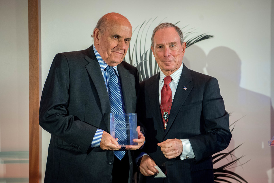 Michael R. Bloomberg, founder of Bloomberg LP and Bloomberg Philanthropies, and three-term mayor of New York City, presents Cities of Service Engaged Cities Award to Maurice Armitage Cadavid, Mayor of Santiago de Cali, Colombia