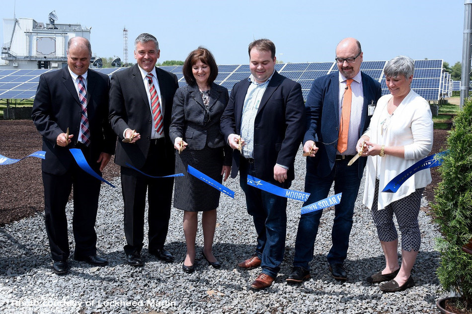 Pictured left to right: Vice Presidents John Palumbo, Jim Sheridan and Carol Cala of Lockheed Martin join Doug Bagwill and Wayne Pfisterer of Pfister Energy along with Moorestown Mayor, Stacey Jordan cutting the ribbon on Lockheed Martin's largest solar field located in Moorestown, N.J. on May 14, 2018.