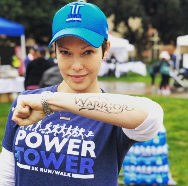 Actress & breast cancer survivor Erin Cummings at Tower Cancer Research Foundation's Power of Tower 5K Run/Walk on March 11, 2018