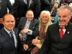 Dr. Mike Evans, the founder of the Friends of Zion, attending the Embassy Dedication Ceremony with Mayor of Jerusalem Nir Barkat as well as with Mr. Sheldon Adelson and Dr. Miriam Adelson.