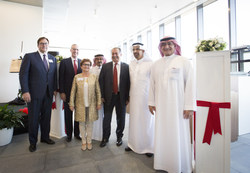 (left to right) President of Dow Saudi Arabia Chuck Swartz, Dow CEO-elect Jim Fitterling, Dow Chief Technology Officer for Europe, Middle East and Africa Wiltrud Treffenfeldt, KAUST Interim President Nadhmi Al-Nasr, DowDupont CEO Andrew Liveris, Saudi Minister of Energy, Industry and Mineral Resources H.E. Khalid A. Al-Falih, and President and Chairman of NESMA Holding Company Saleh Al-Turki.