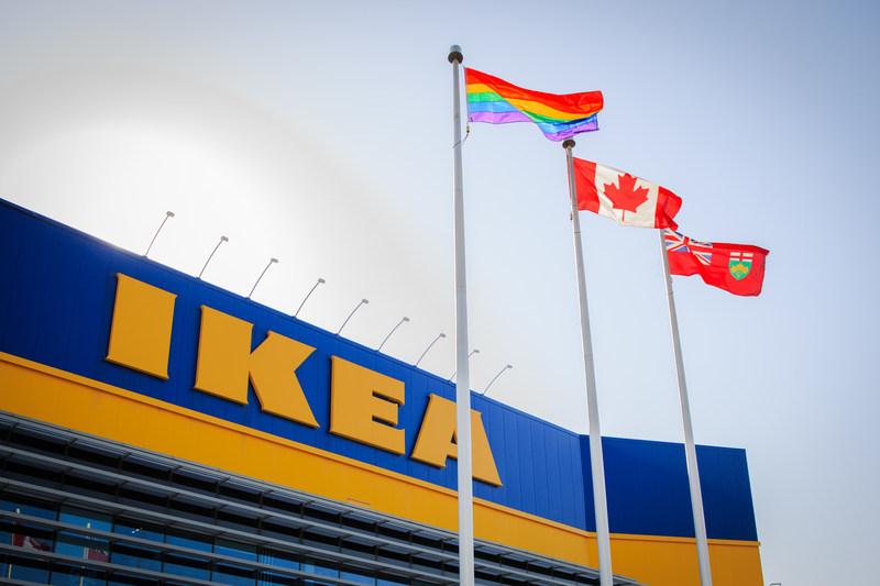 IKEA co-workers raise Pride flag. (CNW Group/IKEA Canada)