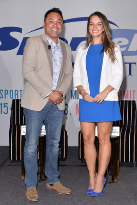 Olympic Gold medalist and former world champion boxer Oscar De La Hoya and Kay Murray, sports anchor for beIN Sports, pose during the SPORTELSummit at the W South Beach Hotel in Miami, FL on May 16, 2018.