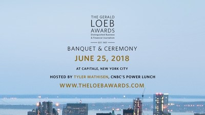 The 2018 Gerald Loeb Awards banquet and celebration will be held on Monday, June 25, 2018, at Capitale in New York City. Tyler Mathisen, co-anchor of CNBC's Power Lunch, will be the host of this year's show. Additional presenters from television news will be announced in coming weeks via @LoebAwards on Twitter. This event is attended by many of the country's most influential journalists, editors, publishers, producers, and media personalities. The official invitation for the 2018 Gerald Loeb Awards – with ticket, table, sponsorship and advertising information – can be viewed at http://www.theloebawards.com.