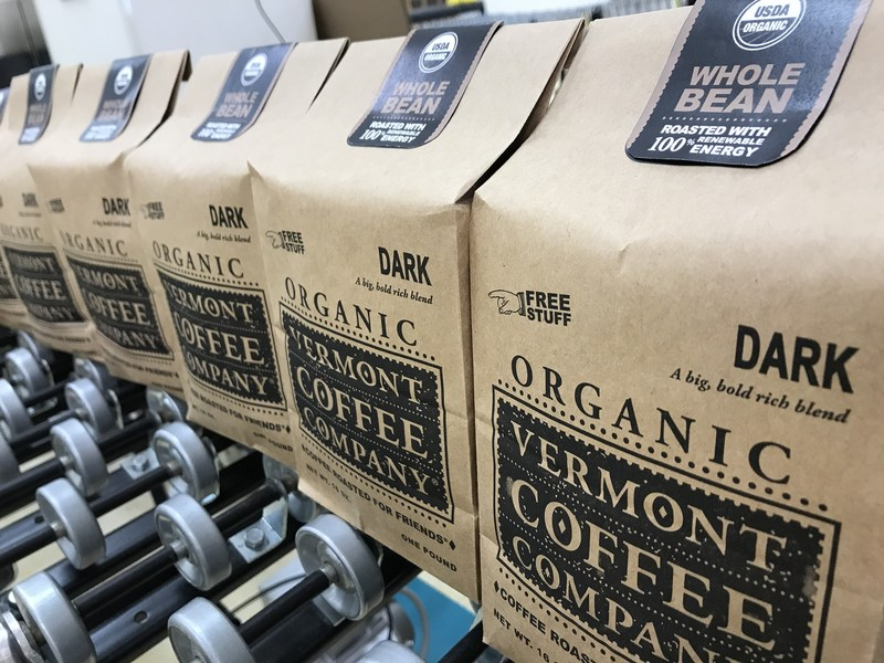 Vermont Coffee Company products are recognizable on store shelves with its environmentally-friendly brown paper bags.