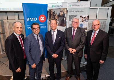 De gauche à droite : Pierre Cossette (recteur de l'UdeS), Serge Striganuk (doyen de la Faculté d'éducation de l'UdeS), Luc Blanchard (conseiller principal en gestion de patrimoine et premier vice-président de BMO Nesbitt Burns), Normand Legault (président de la campagne majeure de l'UdeS) et Luc R. Borduas (président de la Fondation de l'UdeS). Photo : UdeS – Michel Caron (Groupe CNW/Université de Sherbrooke)