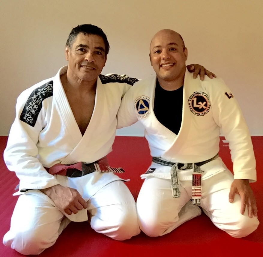 Master Rickson Gracie (left) and Prof. Leonardo Xavier (right)