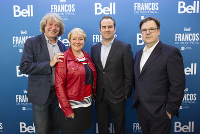 Alain Simard, Chairman of the board, Équipe Spectra and Founder of the Francos de Montréal, Martine Turcotte, Vice Chair, Québec for Bell, Geoff Molson, Owner, President and CEO, Club de hockey Canadien, Bell Centre and evenko and Jacques-André Dupont, CEO, Spectra announced a historic renewed partnership between the Francos de Montréal and Bell for the next decade. (CNW Group/Bell Canada)