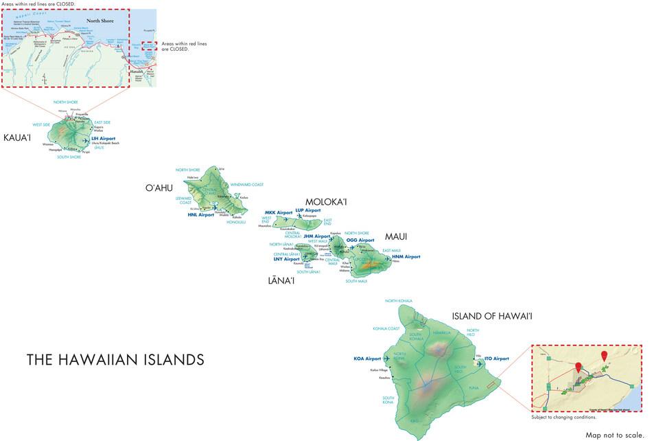 Map of the Hawaiian Islands.