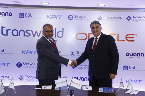 L to R: Transworld Chairman Mr Ramesh S Ramakrishnan and Oracle India MD Mr Shailender Kumar (PRNewsfoto/Transworld Group)