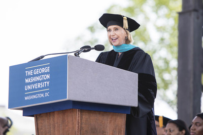 Marcia McNutt, president of the National Academy of Sciences, delivers an address to graduates at the George Washington University's 197th Commencement.