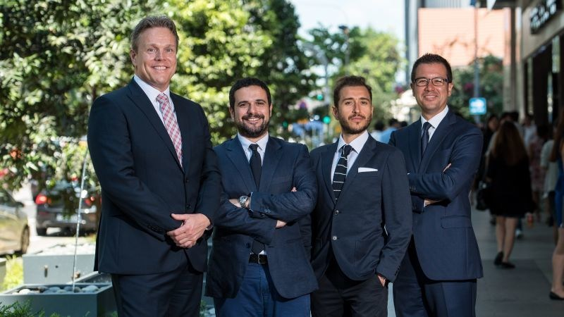Hawksford has acquired People & Projects Ltd which will significantly strengthen its existing presence in Hong Kong and Singapore and provide an extensive footprint across major cities in China. From left; Michel van Leeuwen. Group Chief Executive of Hawksford with P&P Partners Giacomo Stoppa, Stefano Passarello and Dario Acconci. (PRNewsfoto/Hawksford)