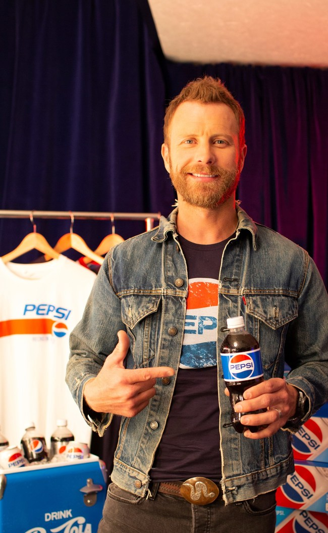 "Dierks Bentley in the ""This Is The Pepsi That Gets You Stuff"" 2018 Pepsi Generations summer advertisement."