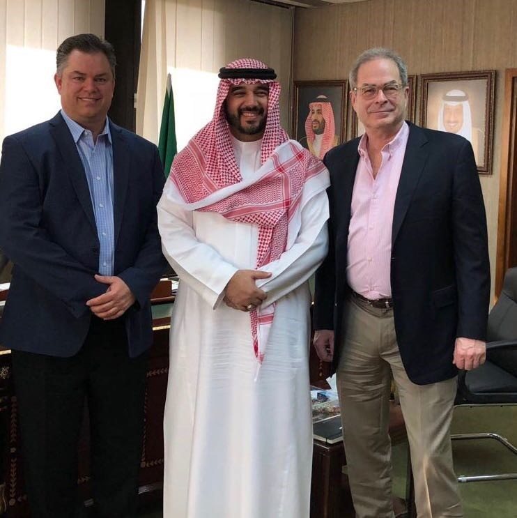 HRH Prince Faisal bin Bandar Al Saud, President Arab Esport Federation; along with Tom Smith, Managing Partner GER (left); Jim Walsh, Partner GER (right).