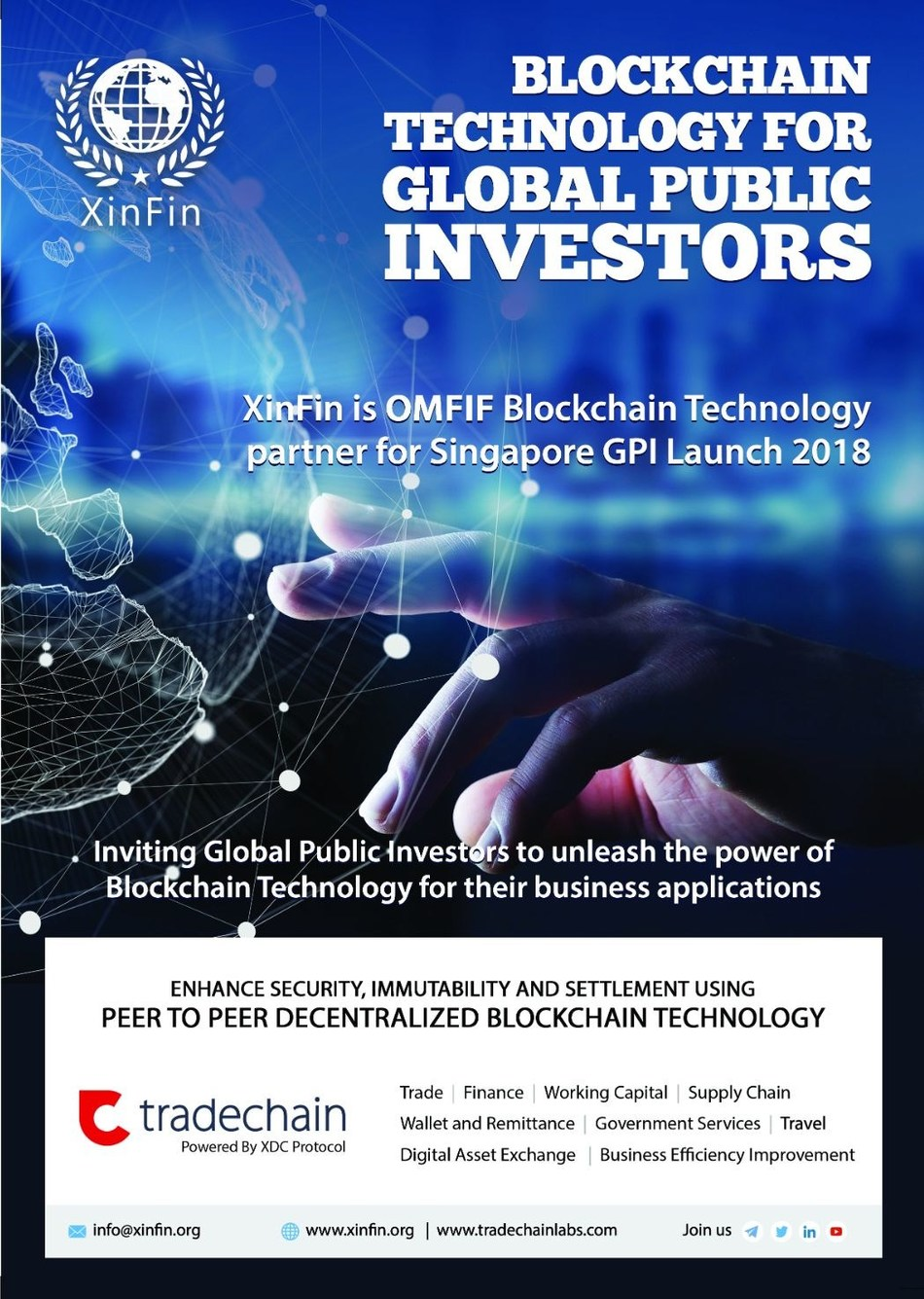 Blockchain Platform XinFin.io partners with OMFIF for Global Public Investors 2018 Launch (PRNewsfoto/XinFin)