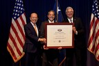 """United Franchise Group (UFG) has been named as the recipient of the President's """"E"""" Award for Exports, a highly-coveted recognition for significant contributions to the expansion of U.S. exports. Pictured from left to right: Commerce Secretary Wilbur Ross, UFG International Director and Executive Vice President Tipton Shonkwiler and UFG Chief Executive Officer Ray Titus."""