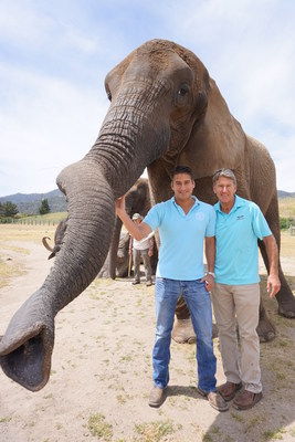Bill Christopher (CEO) and Ken Christopher (EVP) of Christopher Ranch pictured with Butch the retired entertainment African elephant