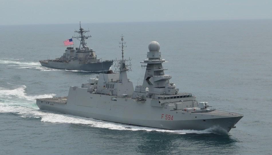 FREMM frigate of Italian navy with US Arleigh Burke-class destroyer