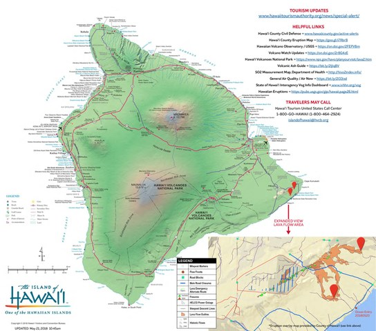 Map of the island of Hawaii, indicating an expanded view of the lava flow area.