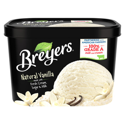 Breyers Continues Commitment to Ice Cream Quality with 100% Grade A Milk and Cream Designation.