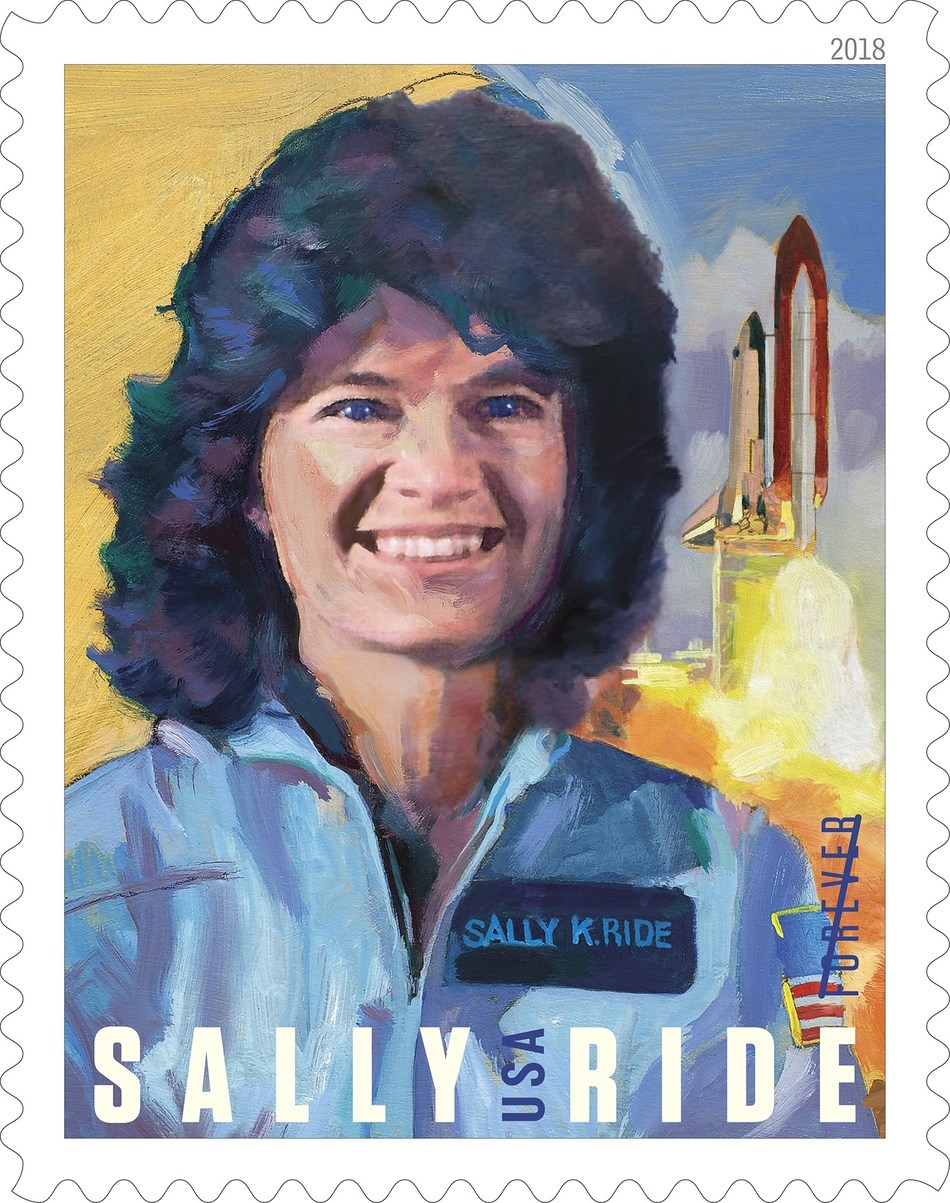 Sally Ride, America's first woman in space, a pioneering astronaut, brilliant physicist and dedicated educator who inspired the nation, will be commemorated on a Forever stamp tomorrow.   Followers of the U.S. Postal Service's Facebook page can view the 8 p.m. EDT, ceremony live at Facebook.com/USPS. Share the news using the hashtags #SallyRideForever and #AstronautStamps.