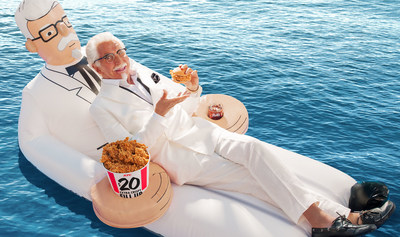 Today KFC opened a sweepstakes (running through June 22) to enter for a chance to win the summer's must-have pool float: the limited-edition KFC Colonel floatie. (PRNewsfoto/KFC)