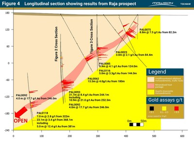 Figure 4 Longitudinal section showing results from Raja prospect (CNW Group/Mawson Resources Ltd.)