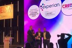 Experian's Tom Blacksell (left) and James Jones (third from left) accept the award from Credit Strategy's Kamala Panday (second left) and Luke Broadhurst (right). (PRNewsfoto/Experian)
