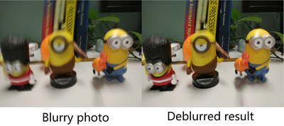 deblur: In the left photo, minion toys experience complex motion due to camera shake. The deblurred result on the right restores clear strutures and recognizable characters.