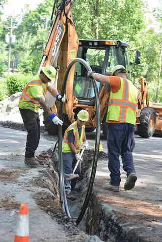 PSE&G employees perform Gas System Modernization Program work in Montclair, New Jersey