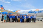 A team of Allegiant employees take delivery of the airline's first U.S.-produced A320 aircraft from the Airbus U.S. Manufacturing Facility in Mobile, Alabama on May 22, 2018