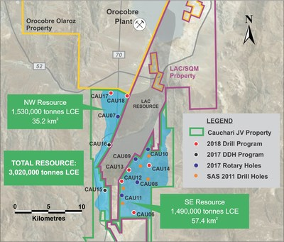 Figure 1: Location of Cauchari boreholes and the NW and SE Target areas (CNW Group/Advantage Lithium Corp)