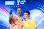 Former Dutch International Balon d\'or winner Ruud Gullit and FIFA World Cup 1994 Winner Bebeto take a selfie with the FIFA World Cup 2018 V9 Blue Limited Edition