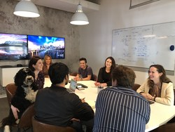 """SURGO's """"Chief Morale Officer"""" Goose helps guide team members through their meeting."""
