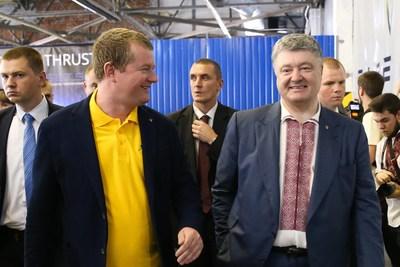 Left: Dr. Max Polyakov, Firefly founder. Right: Petro Poroshenko, President of Ukraine
